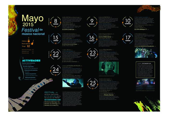 Agenda de festival musical, DG2 cátedra Mazzeo, 2015