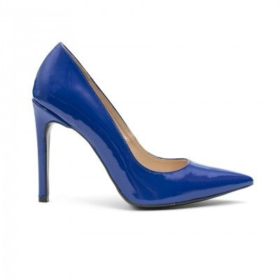 LUNA cobalt patent leather pumps