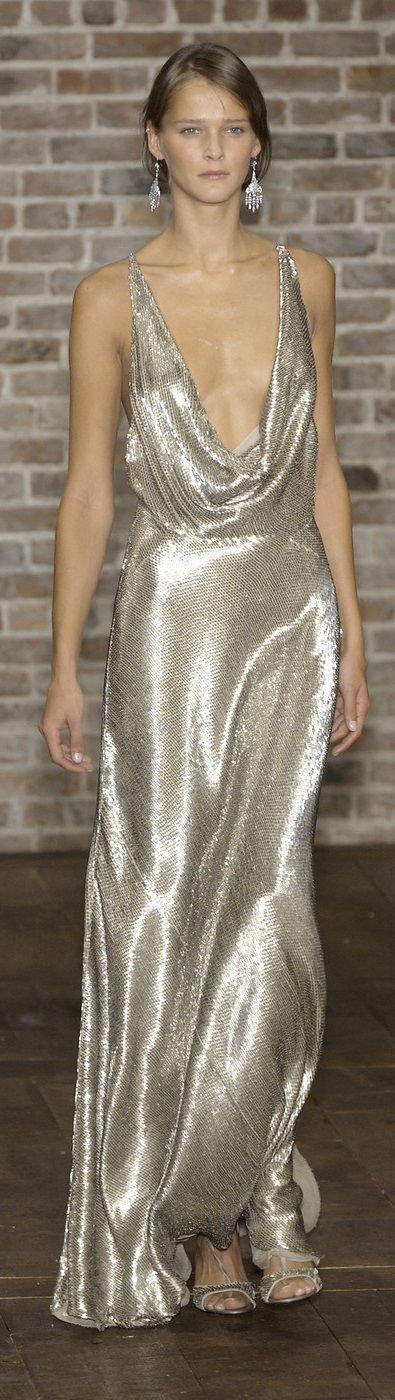 Ralph Lauren ~ Silver Metallic Plunging Neckline Gown