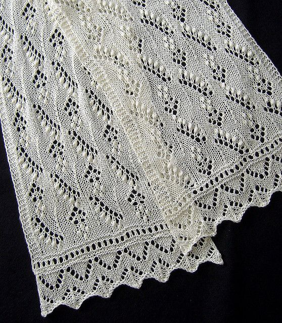 Lily of the Valley Scarf by Sue V,    Lily of the Valley Scarf  by Nancy Bush, Knitted Lace of Estonia