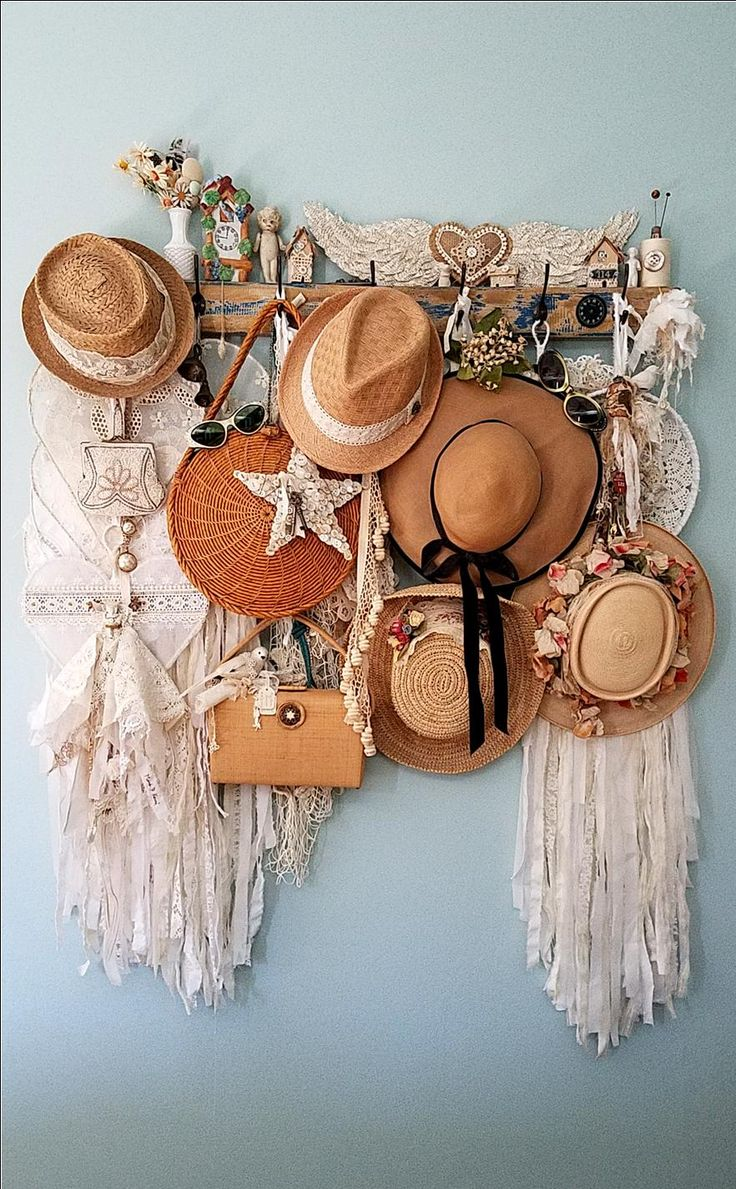 Vintage straw hats and purses