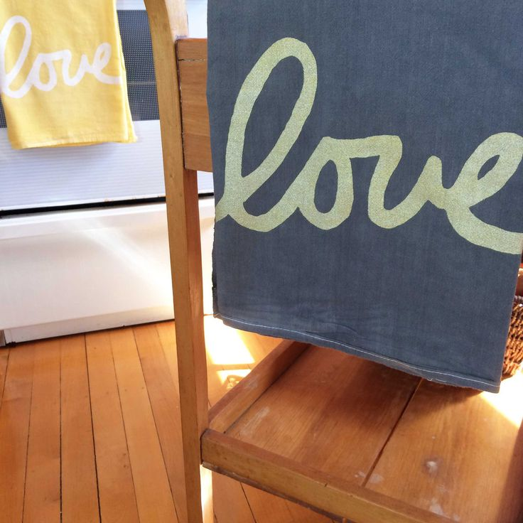 Gold Love Hand printed Tea Stained tea towel on Pre-washed 55% Linen 45% Rayon fabric