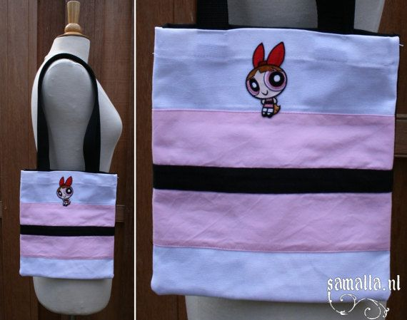 Baby Tote  Blossom  black white and pink small cotton by SamallaNL