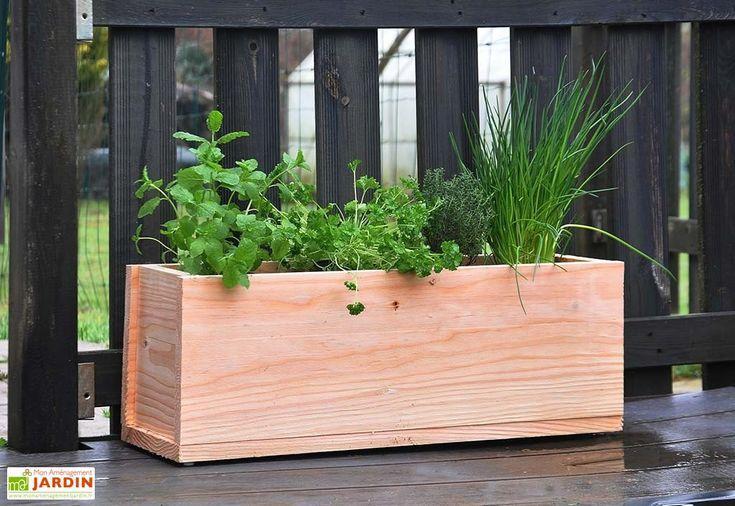 jardinière en bois douglas 17L 60 x 20 x 22 cm sans traitement chimique