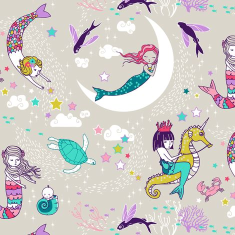 Mermaid Lullaby SMALL (Candy) fabric by nouveau_bohemian on Spoonflower - custom fabric