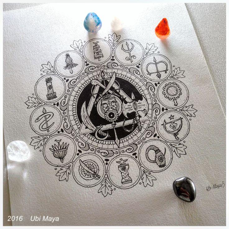 """""""MANDALA COM OGUM, XANGÔ E IANSÃ NO CENTRO"""" Arte encomendada para tattoo, destino: Salvador-BA. https://www.instagram.com/notovitch/"""