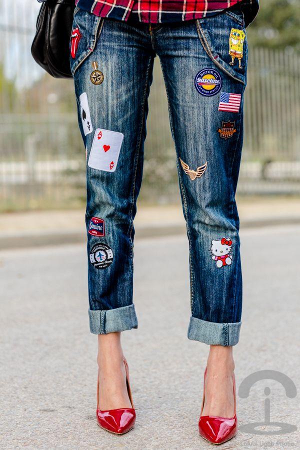 DIY Jeans con parches Crimenes de la Moda                                                                                                                                                                                 Más