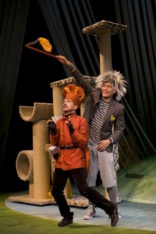 """Doug Hara as the Cat (left) and Paolo Montalban as Ugly in the Two River Theater Company production of """"Honk!: A Musical Tale of the Ugly Duckling."""" It runs through Jan. 1at the theater in Red Bank."""