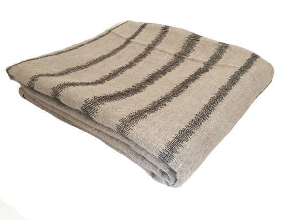 Stripe Throw Charcoal on Stone, Plain