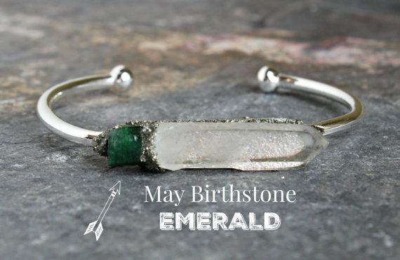 Love this In Gold version!!!! Green Emerald Jewelry - Birthstone Bracelet - Gemstone Bracelet - Raw Emerald - May Birthstone - Birthstone Jewelry for Her