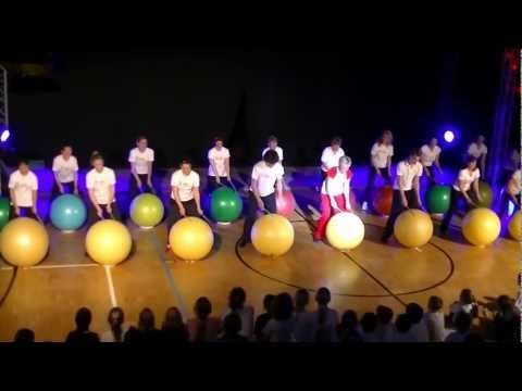 Drums Alive - Using drumbsticks and exercise balls to the can-can