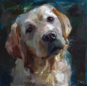 """Daily Paintworks - """"Amigo - a white labrador, a dog"""" - Original Fine Art for Sale - © adam deda #OilPaintingDog"""