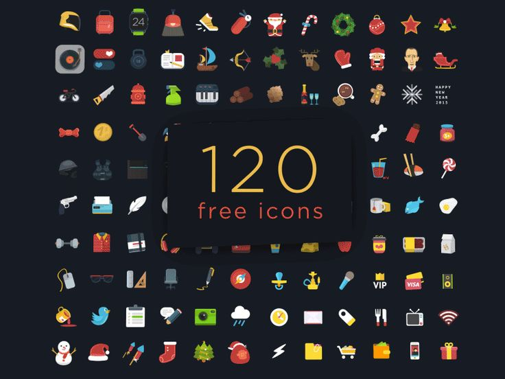Free Download : 120+ Free Flat PSD Colorful Icons