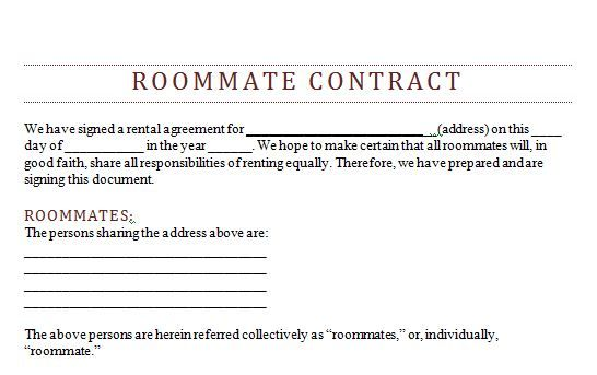 Simple Roommate Agreement Form Tekil Lessecretsdeparis Co