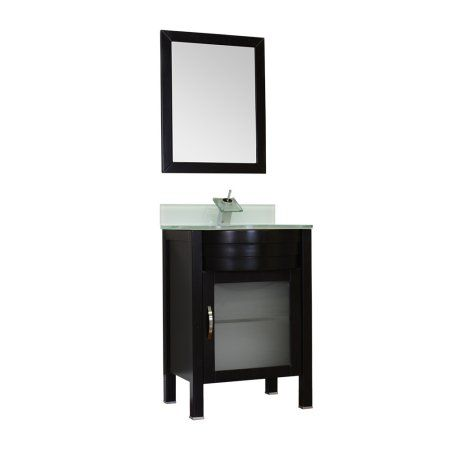 Photos On Elite inch Single Modern Bathroom Vanity in Black with Light Green Glass Top and Mirror