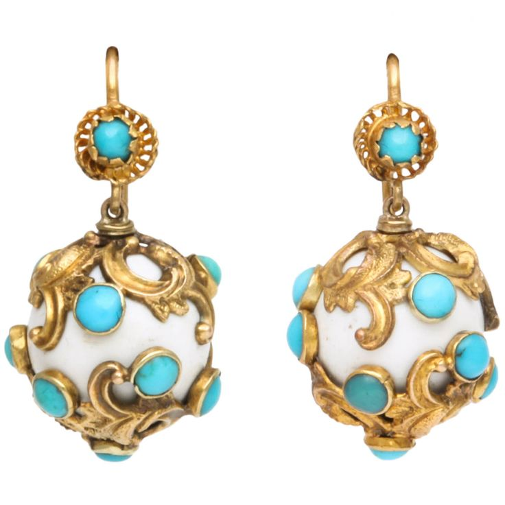 Eternal Summer: Victorian Enamel Turquoise Earrings | From a unique collection of vintage drop earrings at http://www.1stdibs.com/jewelry/earrings/drop-earrings/