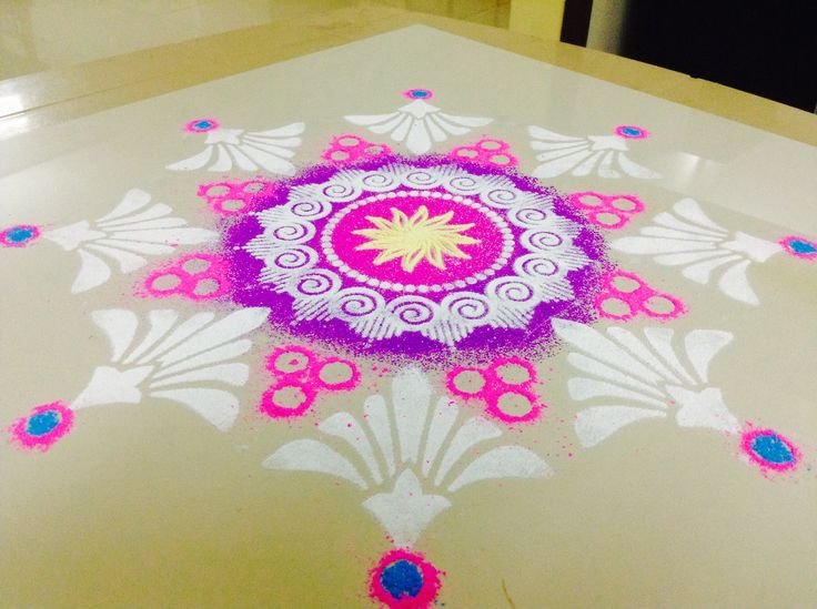 Diwali rangoli kolam design stencil diy paintings for Home made rangoli designs