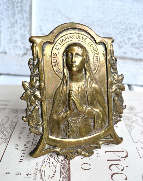 Antique French Brass Plaque Virgin Mary by shabbyfrenchvintage