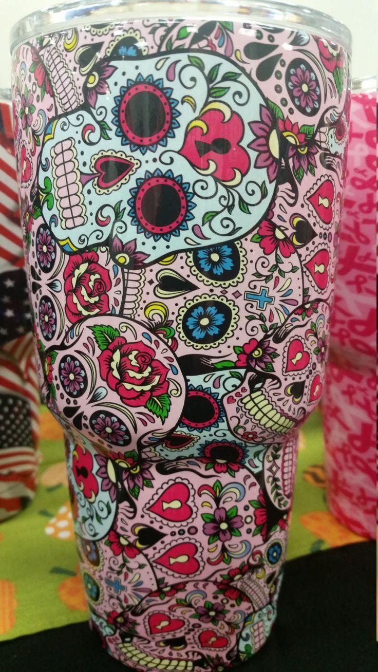 Sugar Skull Yeti Dipped Cup By Skinsandskulls On Etsy