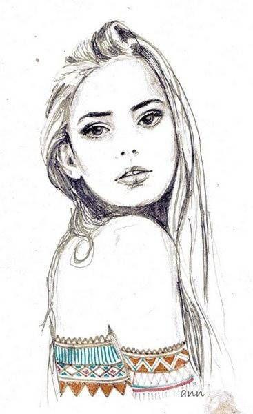 A Beautiful Cartoon Girl Face Fashion girl dr...