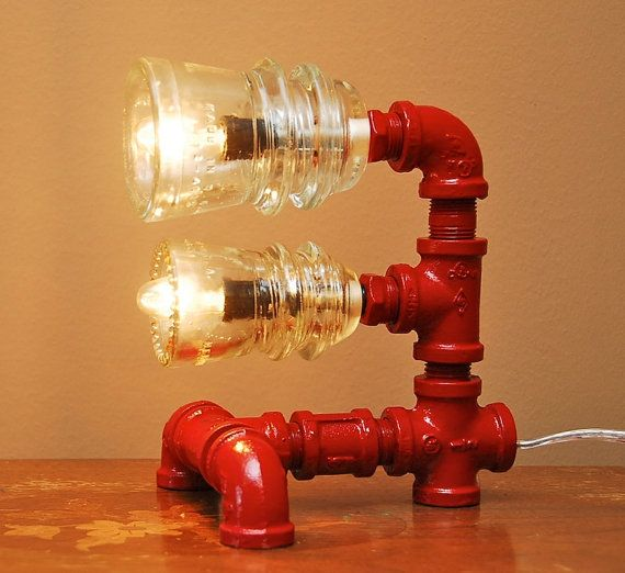 Red Industrial Style Pipe Lamp with Glass by TRoweDesigns on Etsy, $120.00