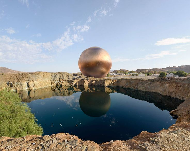 dillon marsh places copper spheres in arid mining landscapes - designboom | architecture