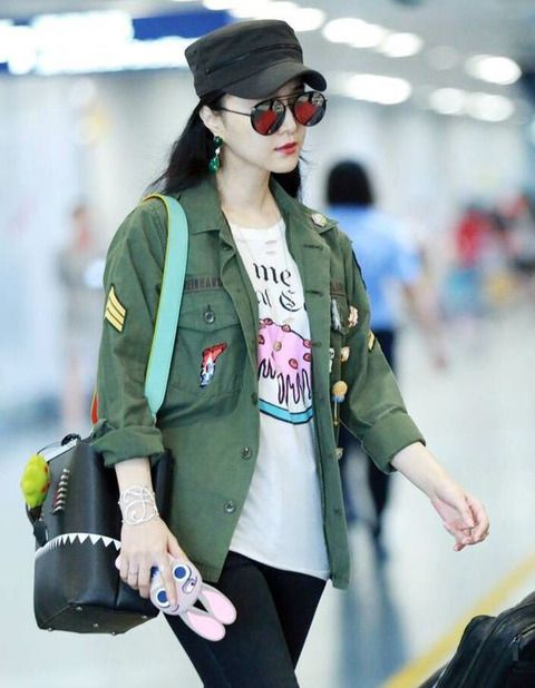 Casual Patches Long Sleeve Army Green Women Short Coats