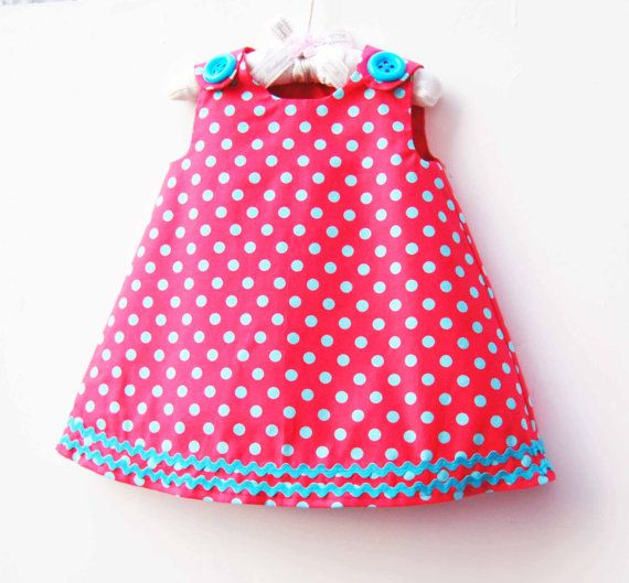 Baby Girls Outfits - Red Turquois Polka Dot Dress - Infant Dress Pattern - Toddler Girls - Handmade by KK Children Designs - 3M to 3T