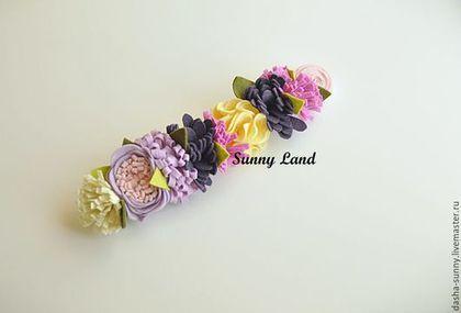Повязки ручной работы. Повязка-веночек с цветами. Sunny land. Ярмарка Мастеров. Повязка для девочки, цветочная повязка, детские аксессуары