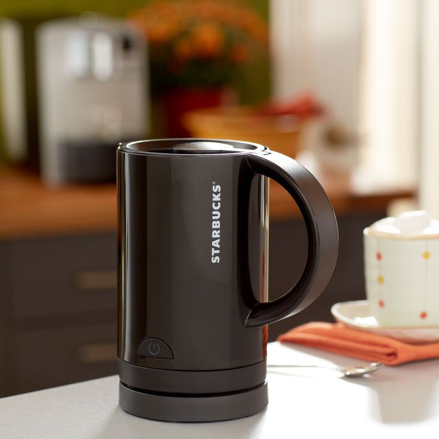An electric frother that heats milk and creates foam for your favorite coffee beverages.