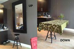 Si comme moi vous n'avez pas beaucoup de place chez vous ou si vous habitez un petit appartement, voici ma bidouille pour créer un miroir qui se déplie pour obtenir une table pour 6 personnes. Matériel : Miroir IKEAMONGSTAD Tabouret de bar IKEA DALFRED Charnières de porte x 2 – exemple ici :http://amzn.to/2eoIRAC Crochets avec œil de porte x2 –exemple ici :http://amzn.to/2eoJA4F Description: 1) Fixez les deux charnières enbas du miroir 2) Fixez deux oeillets sur les côtésdu miroir 3)…