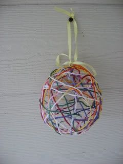 easter egg with yarn and a balloon