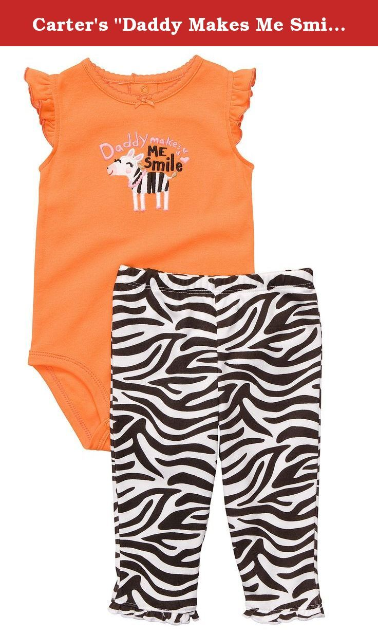 "Carter's ""Daddy Makes Me Smile"" 2-Piece Outfit (Sizes NB - 9M) - orange, 6 months. Daddy will smile when he sees his cute little girl in the bodysuit pants set."