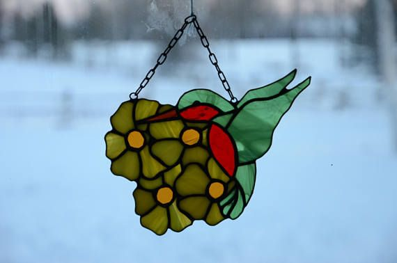 Stained Glass Hummingbird Sun Catcher