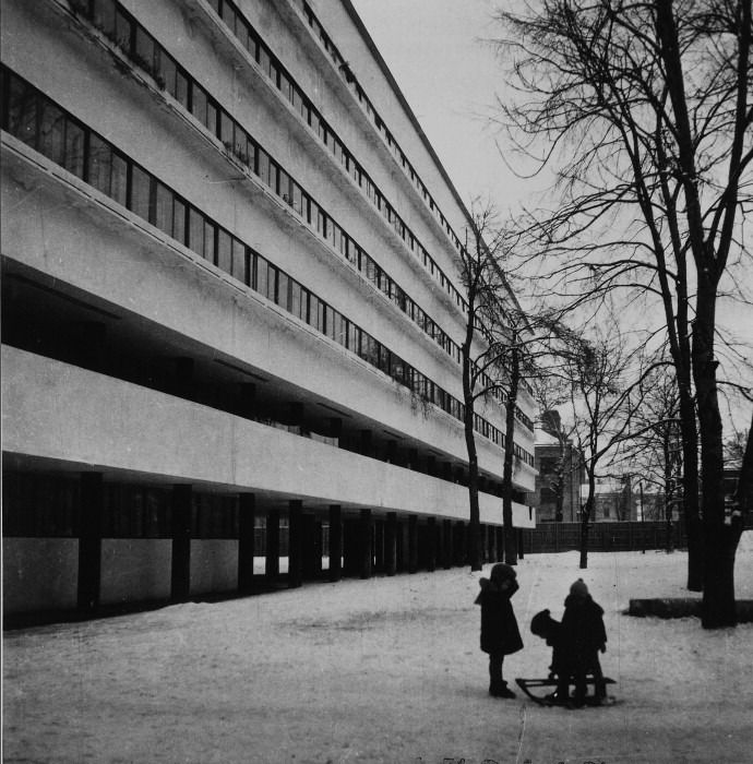 I was privileged to be shown around the Narkomfin Building (1928) in Moscow by Alexai Ginzburg, grandson of its architect Moisei Ginzburg. It's in a sorry state of repair but the spirit of communal living is still very much in evidence and the influence on Le Corbusier is unquestionable.