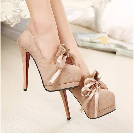 Free Shipping 2014 New Arrival Fashion & Sexy High Heel Women Pumps OL Shoes Night Club Bowtie Shoes 5 inches High Heel Platform