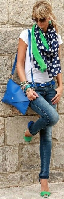 cobalt belt, jeans, white t-shirt, blue and green scarf. Blue and fresh green polka-dot scarf matching sandals with jeans - cute casual look. find more women fashion on www.misspool.com