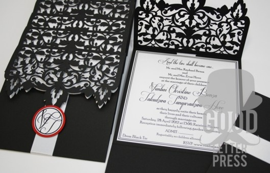 Laser Cut Wedding Invitation for that Black Tie Wedding, Stylish, Formal and elegant, laser cut from a black corduroy paper and the detail printed on a white linen paper......