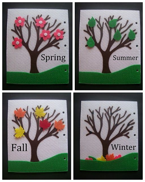 Seasonal trees using felt board.