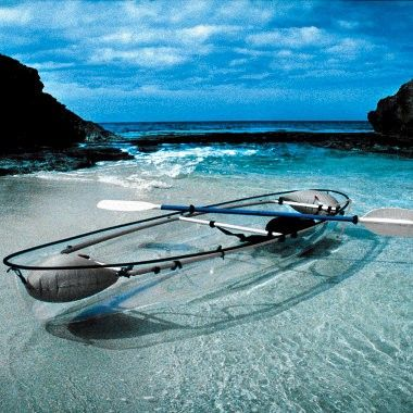 A transparent kayak... I'd happily ride this classy vessel across the waves.