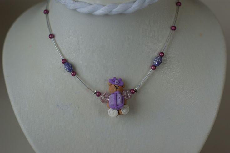 Collier lilas ourson en fimo pour enfant, collier fillette, cadeau fillette , cadeau petite fille : Bijoux enfants par bijouxlibellule