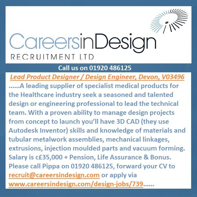 A supplier of specialist medical products seek a Lead Product Designer / Design Engineer. http://www.careersindesign.com/design-jobs/739-lead-product-designer-design-engineer-south-west