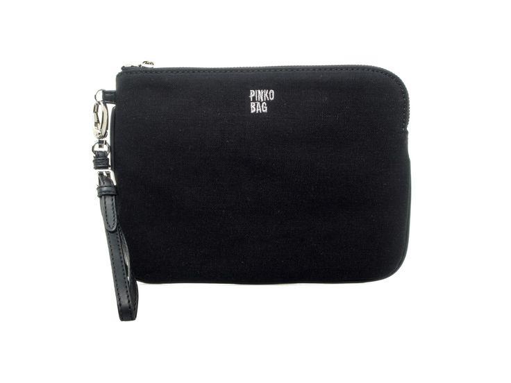 PINKO - Pochette STRINGA in tessuto tecnico - Nero - Elsa-boutique.it <3 #Pinko