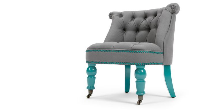 Bouji Chair, Graphite Grey and Turquoise Blue | made.com