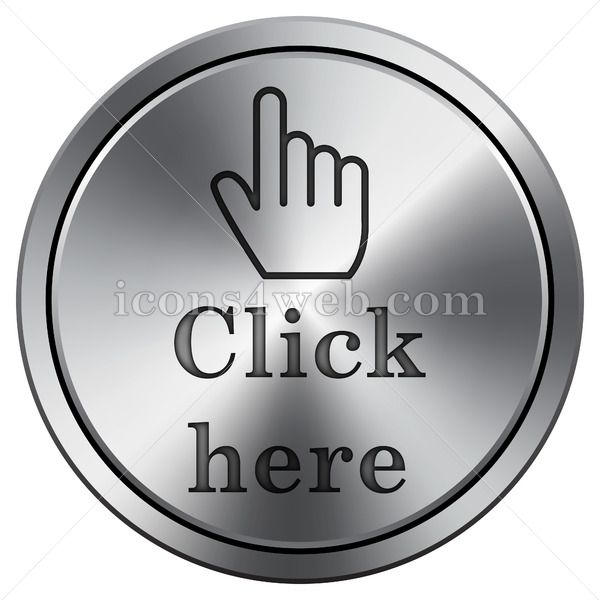 Click Here Icon Imitating Metal With Carved Design Round Icon With Border Buttons For Website Icon Luxury Business Cards