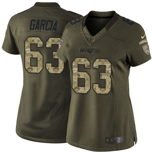 $24.99 Women's Nike New England Patriots #63 Antonio Garcia Limited Green Salute to Service NFL Jersey