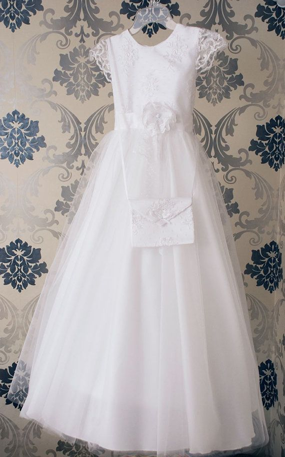 First Holy Communion dress in white for baptism by MonikaVenika