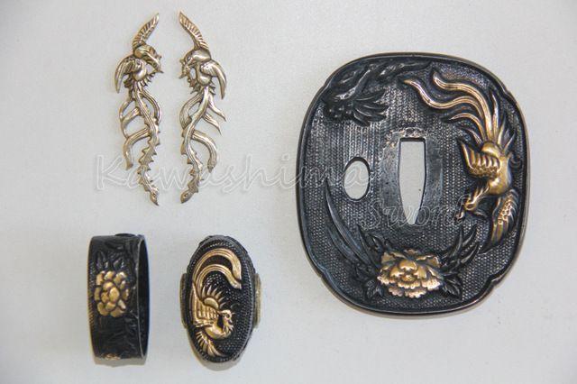 Japanese Sword Tsuba Set Fuchi Kashira Menuki Phoenix Design Brass Material Hand Guard
