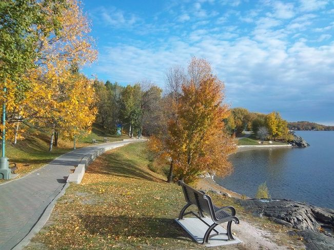 Bell Park boardwalk along Ramsey Lake in Greater Sudbury, Ontario, Canada - fall