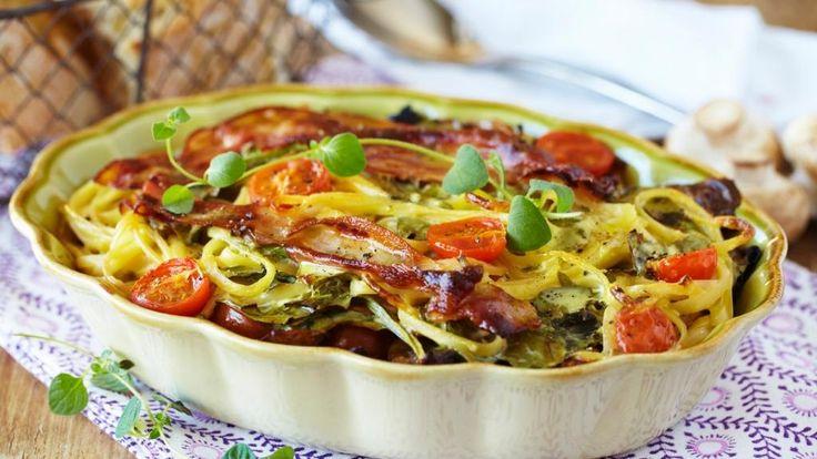 Oppskrift på Pastagrateng med spaghetti og bacon, foto: Synøve Dreyer kilde: TINE